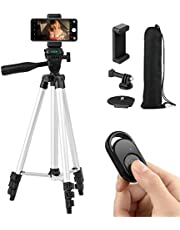 Coching Phone Tripod, 51 Inch 130cm Extendable Lightweight Tripod Stand with Cell Phone Mount Holder & Smartphone Bluetooth Remote, Tripod for iPhone/Android/Smartphone & Camera (Silver)