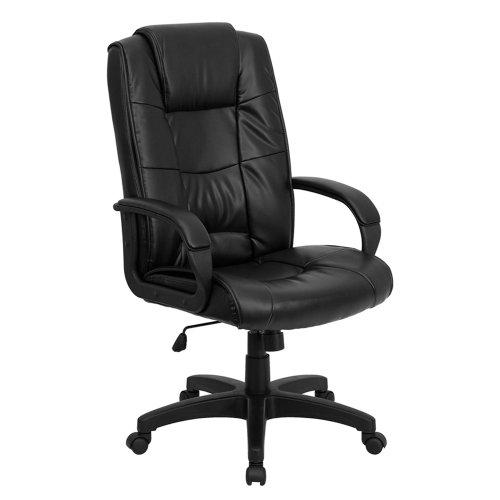 High Back Black Leather Executive Office Chair [GO-5301B-BK-LEA-GG] Computer, Electronics