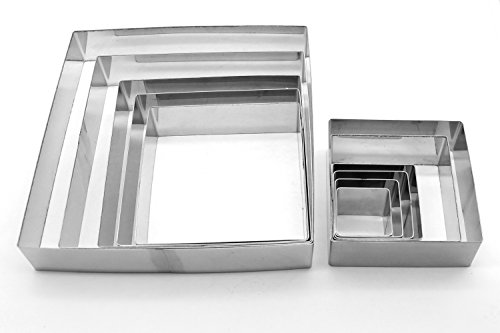 ShengHai Mousses Rings Cutter Cake Molds Set of 11, Heavy Duty Stainless Steel (Square Shape)