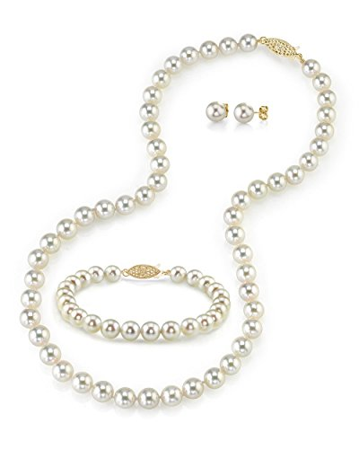 (THE PEARL SOURCE 14K Gold 7-7.5mm Round White Akoya Cultured Pearl Necklace, Bracelet & Earrings Set in 17