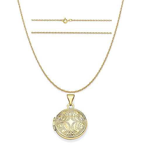 14k Yellow Gold 16mm Round Locket Pendant with Scroll Design on 14K Yellow Gold Rope Necklace, 18