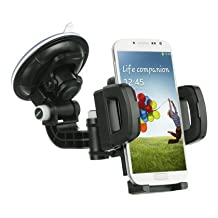 Car Mount, Universal Dashboard Windshield Arm Car Mount Holder Cradle with Ultra Dashboard Base and Double Strong Suction for LG G STYLO, LG G4, SAMSUNG GALAXY S6, SAMSUNG NOTE 4, NOTE EDGE r (UNIVERSAL CAR MOUNT)