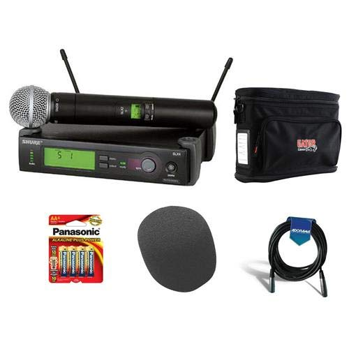 Shure SLX24/BETA58-G4 Wireless Microphone System (G4/470-494 MHz), Includes SLX4 Receiver, SLX2 Transmitter, Beta 58 Mic - Bundle With Gator GM-1W Wireless System Bag, On-Stage Foam Windscreen, More by Shure