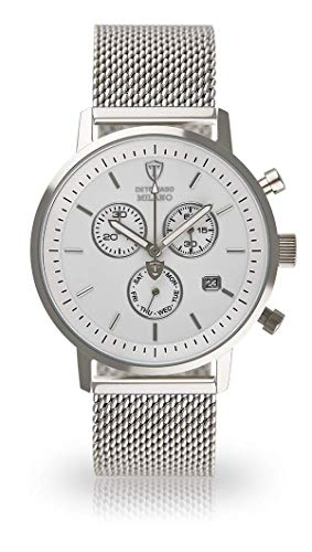 DETOMASO MILANO Men's Watch Chronograph Analog Quartz Silver Stainless Steel Milanaise Bracelet White Dial DT1052-BM