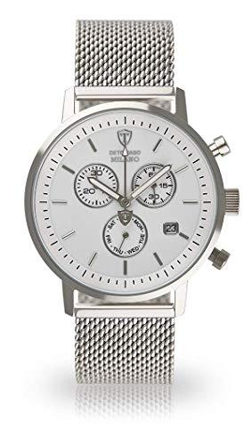 DETOMASO MILANO Men's Watch Chronograph Analog Quartz Silver Stainless Steel Milanaise Bracelet White Dial DT1052-BM