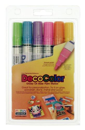 Uchida 300-6C 6-Piece Decocolor Broad Point Paint Marker - Decocolor Pens