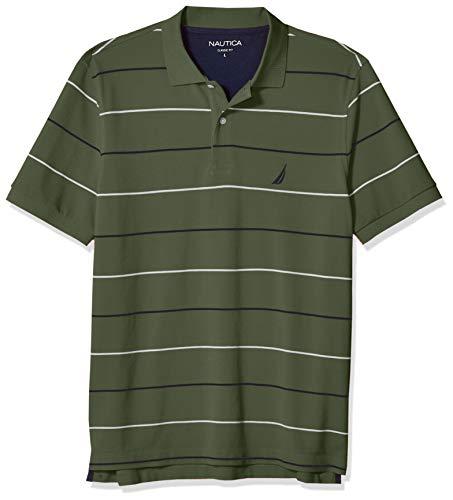 Nautica Men's Classic Fit Short Sleeve 100% Cotton Pique Stripe Polo Shirt, Pine Forest, Medium