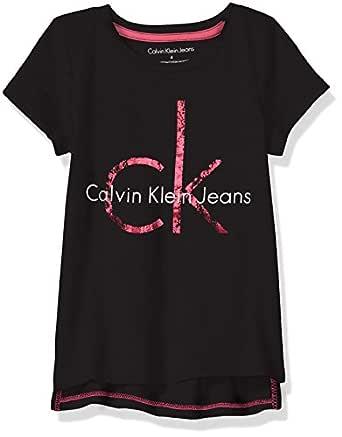 Calvin Klein Toddler Girls' Pullover Hoodie, Hem Anthracite, 2T