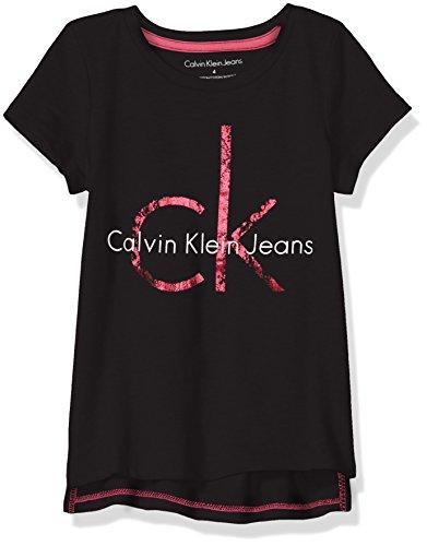 Calvin Klein Toddler Girls' Pullover Hoodie, Hem Anthracite, 3T (Calvin Klein Print Pullover)