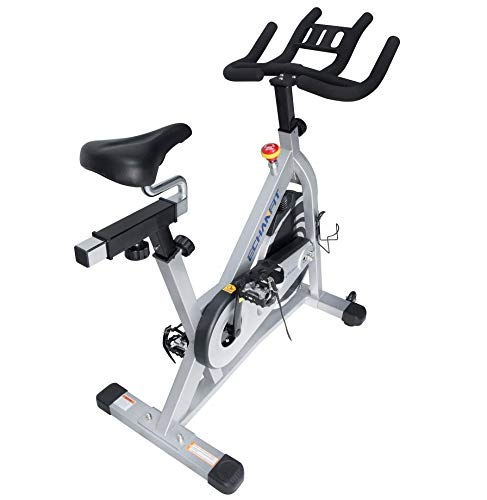 ECHANFIT Magnetic Stationary Bike, Indoor Cycling Exercise Bike with Magnetic Belt Drive Quiet Smooth System, Adjustable Seat and Upgraded Handlebars for Cardio Training Workout