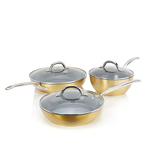 Simply Ming Elite Hammered Ceramic Nonstick 6 piece Cookware Set - Gold