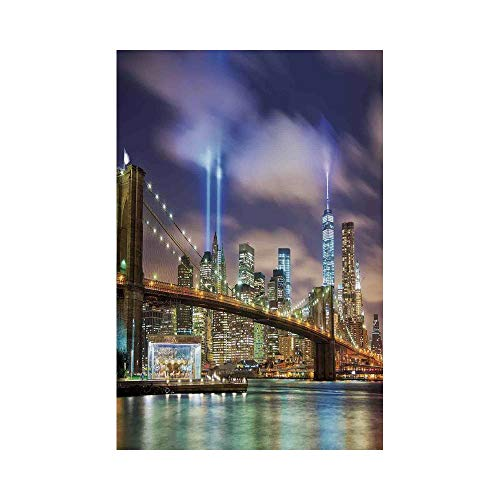 Polyester Garden Flag Outdoor Flag House Flag Banner,Landscape,Manhattan Skyline with Brooklyn Bridge and Towers of Lights in NYC United States,Puple Green,for Wedding Anniversary Home Outdoor Garden