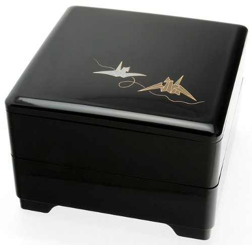 Kotobuki 2-Tiered Jubako Lacquer Box, Black with Silver and Gold Origami Cranes