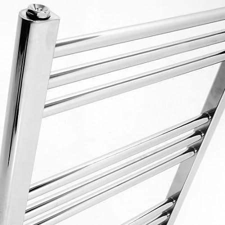 Entradas 455 mm Radiador Toallero Plano en Acero Cromado Para Ba/ño // Cocina 28 Barras Calefacci/ón Central Agua 455 Vatios Hudson Reed Montaje Mural Calentador Toallas Decorativo 1500 x 500 mm
