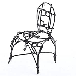 amazon com  set of 6 black painted rusty metal wire chairs