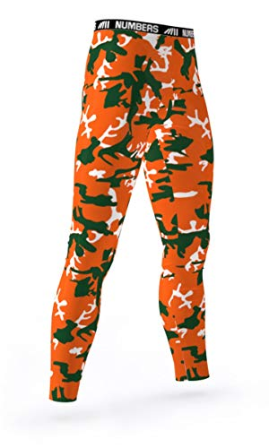 Numbers Athletics Full Length Tights- Python (Orange, Green, White) Boys Mens Girls Womens Basketball Football Compression Tights Sports Pants Baselayer Running Leggings to Match Uniforms