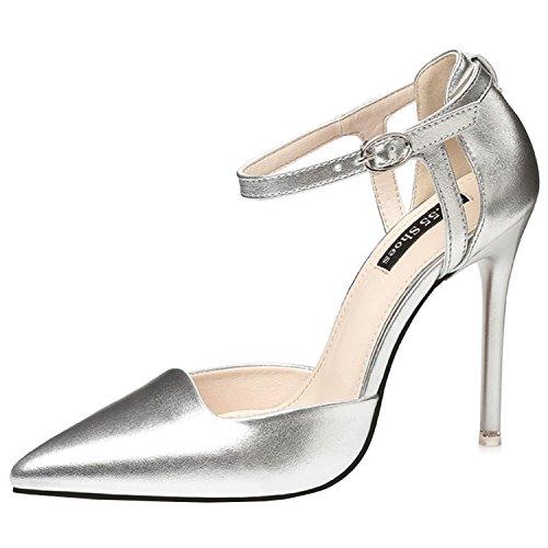 Azbro Mujer Zapato Estilete de Tacón Alto Bomba Club Noche Puntera Punta Correa a Tobillo Plateado