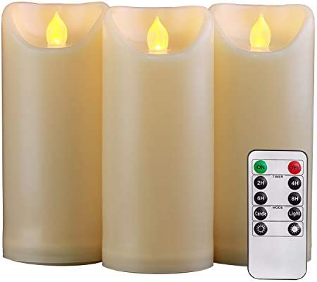 Homemory 3PCS 7 7 7 Waterproof Flameless Candles with Timer and Remote Control, Outdoor Battery Operated Flickering LED Candles, Ivory Appearance and Amber Yellow Light