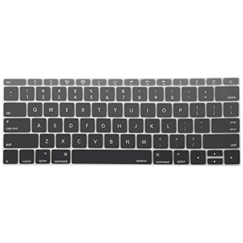 MOSISO Silicone Keyboard Cover Protective Skin Compatible with MacBook Pro 13 inch 2017 & 2016 Release A1708 Without Touch Bar, MacBook 12 inch A1534, Mix Ombre Black