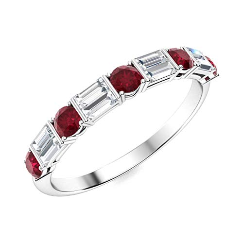 Diamondere Natural and Certified Ruby and Baguette Diamond Wedding Ring in 14K White Gold | 1.13 Carat Half Eternity Stackable Band for Women, US Size 5.5