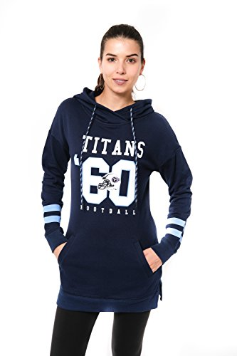 Icer Brands NFL Tennessee Titans Women's Tunic Hoodie Pullover Sweatshirt Terry, Small, - Shirt Pocket Titan