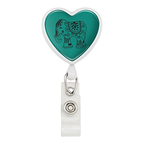 - Painted Elephant India Black on Teal Heart Lanyard Retractable Reel Badge ID Card Holder - White
