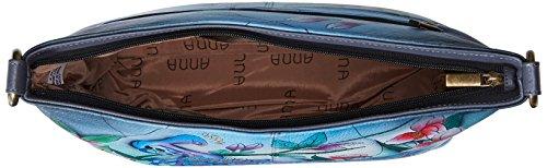 Hand Hobo Leather Painted Shoulder grey Peacock Anna Women'S Anuschka Midnight qTHxA4w