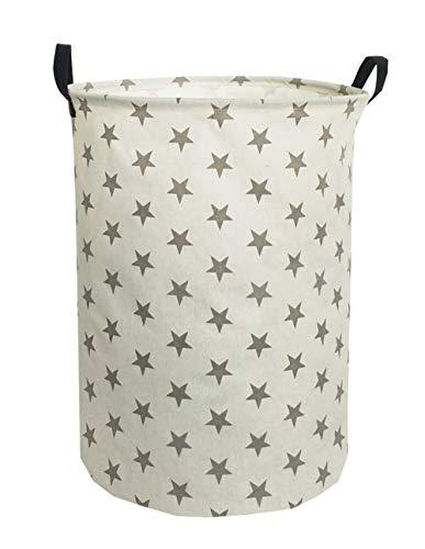 ESSME Laundry Hamper,Collapsible Canvas Waterproof Storage Bin for Kids, Nursery Hamper,Gift Baskets,Home Organizer (Grey Star)