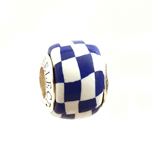 Blue and White Checkerboard Bead Charm for Add-A-Bead Bracelets Clay & Sterling Silver by MAYselect (Bracelet Basketballs Sterling Silver)