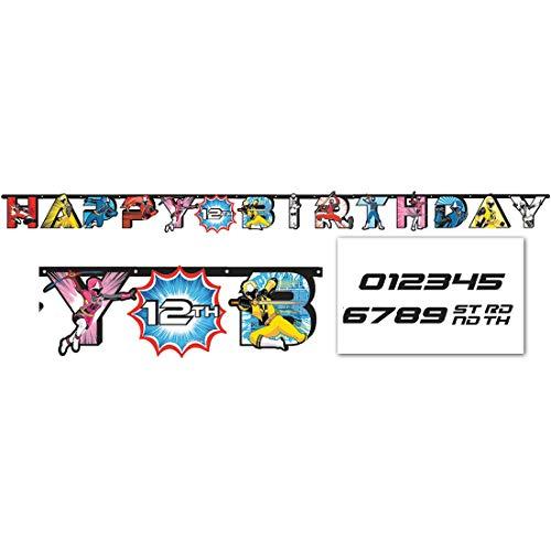 amscan Power Rangers Ninja Steel Jumbo Add-an-Age Happy Birthday Letter Banner, Multicolor, 10.5 Foot Banner (Ninja Happy Birthday Banner)