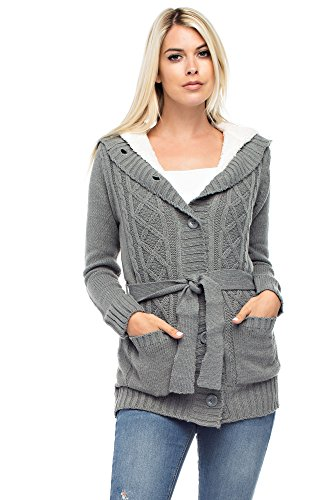 Beaded Tunic Sweater - Betsy Red Couture Women's Cable Soft Sweater Cardigan with Hood (L, Heather Grey)