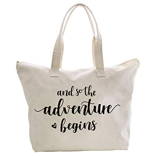ElegantPark And So the Adventure Begins Wedding Bride Tote Bridal Shower Gift Travel Shoulder Bag Canvas Cotton (Best Adventure Travel Bags)