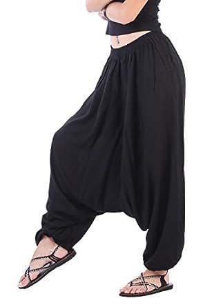 CandyHusky Men Women Elastic Baggy Hippie Boho Gypsy Aladdin Yoga Harem Pants (Black)