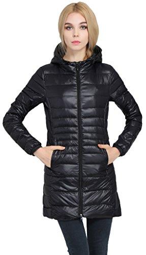 Sawadikaa Women's Lightweight Hooded Long Down Outerwear Puffer Jacket Coat Windbreaker Outdoor Quilted Down Parka Jacket Black Large