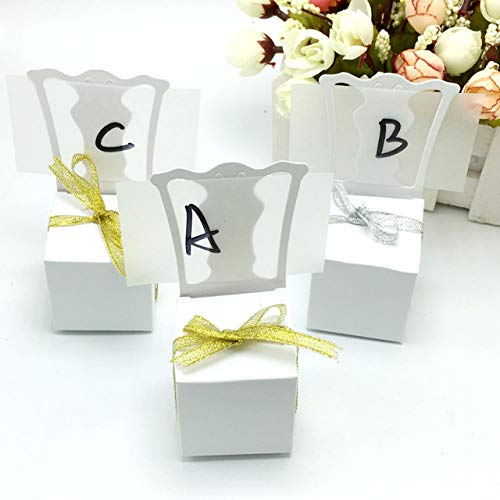 BeesClover 100pcs/lots Chair Shape Place Card Holder Wedding Candy Box Gift Favour Boxes Wedding Event Party Supplies with Gold Ribbon - Gold Chair Place Card Holders