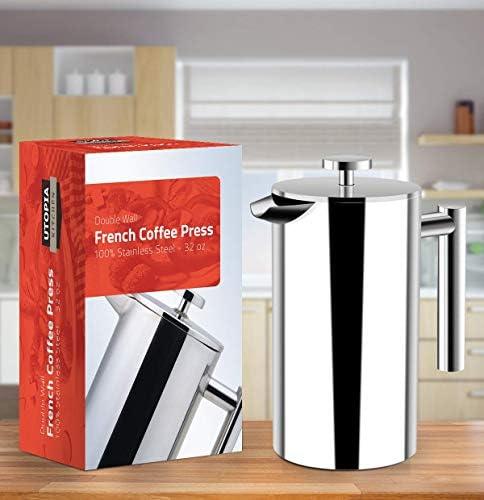 KICHLY (1 L/ 1000 ml) Cafetière à Piston   Français presse café Double paroi café & thé En acier inoxydable