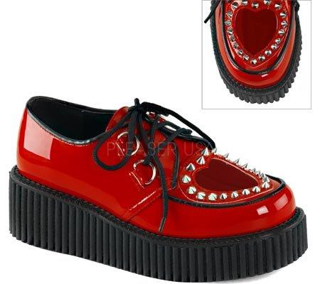 Demonia Womens Creeper 108 Synthetic Platform Oxfords Red ztDXg