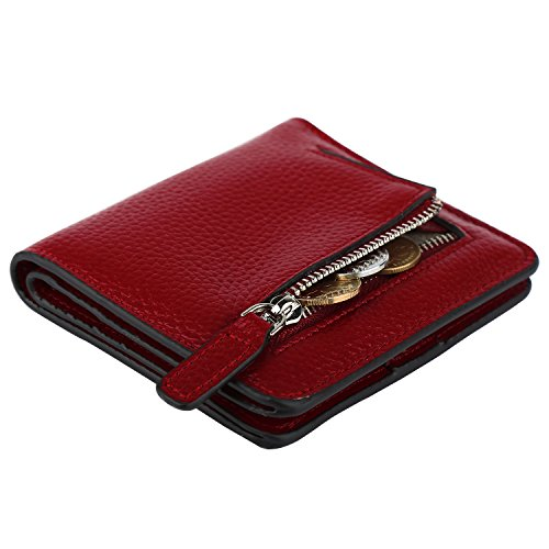 GDTK RFID Blocking Wallet Women's Small Compact Bifold Leather Purse Front Pocket Mini Wallet (Wine Red) by GDTK (Image #4)