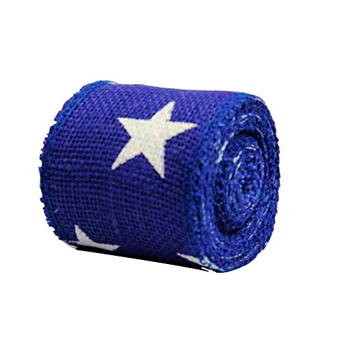 AAYU Star Printed Burlap Ribbon | Rustic 4th of July/Nautical Decor | Natural and Biodegradable Garland | Great for Wreath Embellishments and Other Decorations (Blue, 2 Inch) -