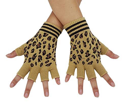 Bienvenu Unisex Half Finger Gloves Kint Convertible Fingerless Winter Mitten, Leopard -