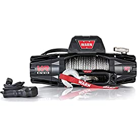WARN 103253 VR EVO 10-S Electric 12V DC Winch with Synthetic Rope: 3/8″ Diameter x 90′ Length, 5 Ton (10,000 lb) Pulling Capacity