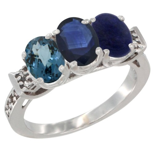 10K White Gold Natural London Blue Topaz, Blue Sapphire & Lapis Ring 3-Stone Oval 7x5 mm Diamond Accent, size 10 Blue Sapphire Lapis Ring