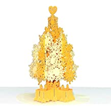 Paper Love Golden Magical Christmas Tree Card, Pop Up Christmas Cards, 3D Xmas Card, Holiday Popup Card