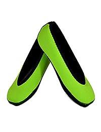Nufoot Ballet Flats Women's Shoes, Best Foldable & Flexible Flats, Slipper Socks, Travel Slippers & Exercise Shoes, Dance Shoes, Yoga Socks, House Shoes, Indoor Slippers, Green, X-Large