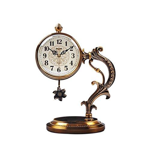Health UK Clock- Clock American Antique Classical 12-Inch Metal Copper Plated Desktop Clock Mute Swing Sitting Bell Welcome by ZAZAZA