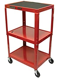 LUXOR AVJ42 RD Adjustable Height Steel Cart, 42.