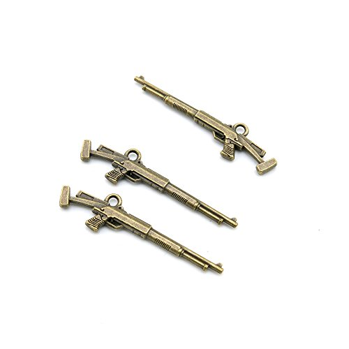 Price per 10 Pieces Fashion Jewelry Making Charms Findings Arts Crafts Beading Antique Bronze Tone Z5VO9 Rifle Gun