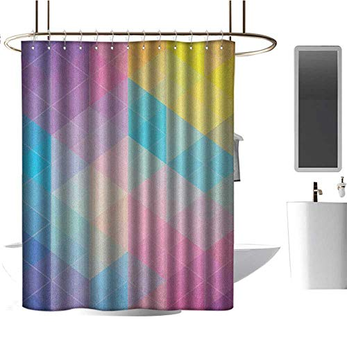 12' Oval Metal Diamond - Qenuan Shower Curtain for Bathroom Indie,Abstract Triangles Classical Diamond Line Pattern in Dreamy Colors Artistic Modern, Multicolor,Metal Rust Proof Grommets Bathroom Decoration 47