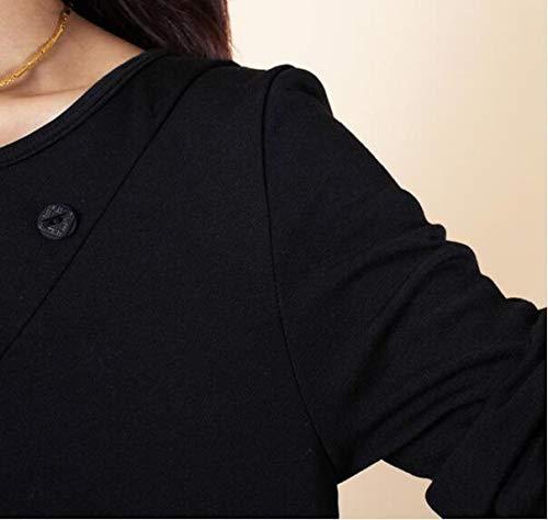 avec Simples Rond Noir Chemisier Casual Elonglin Col Poche Longues Asymtrique Chemise Femmes Manches Tuniques Lache I7wqTq8