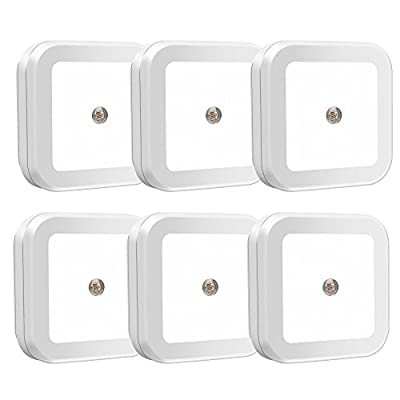 Uigos LED Night Light Lamp with Smart Sensor Dusk to Dawn Sensor, Daylight White, 0.5W Plug-In , 6 Piece